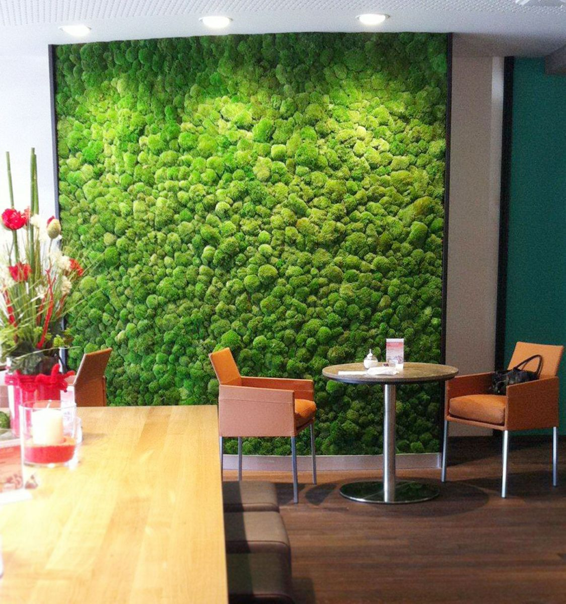 The green office moss walls for Wallpaper design for office wall